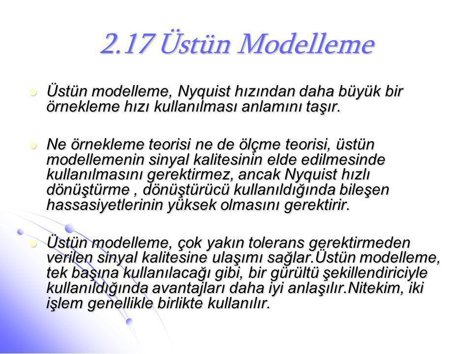 2.17 Üstün Modelleme Üstün modelleme, Nyquist hızından daha büyük bir örnekleme hızı kullanılması anlamını taşır.