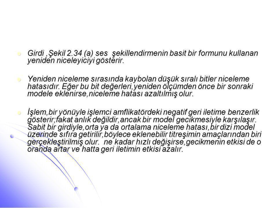Girdi ,Şekil 2.34 (a) ses şekillendirmenin basit bir formunu kullanan yeniden niceleyiciyi gösterir.