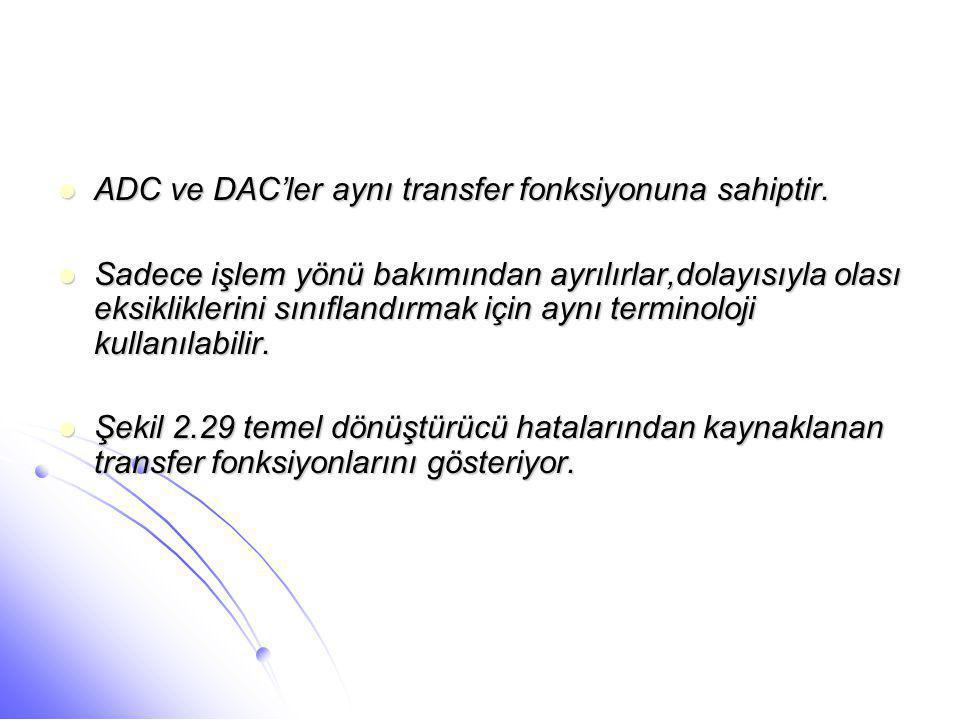 ADC ve DAC'ler aynı transfer fonksiyonuna sahiptir.