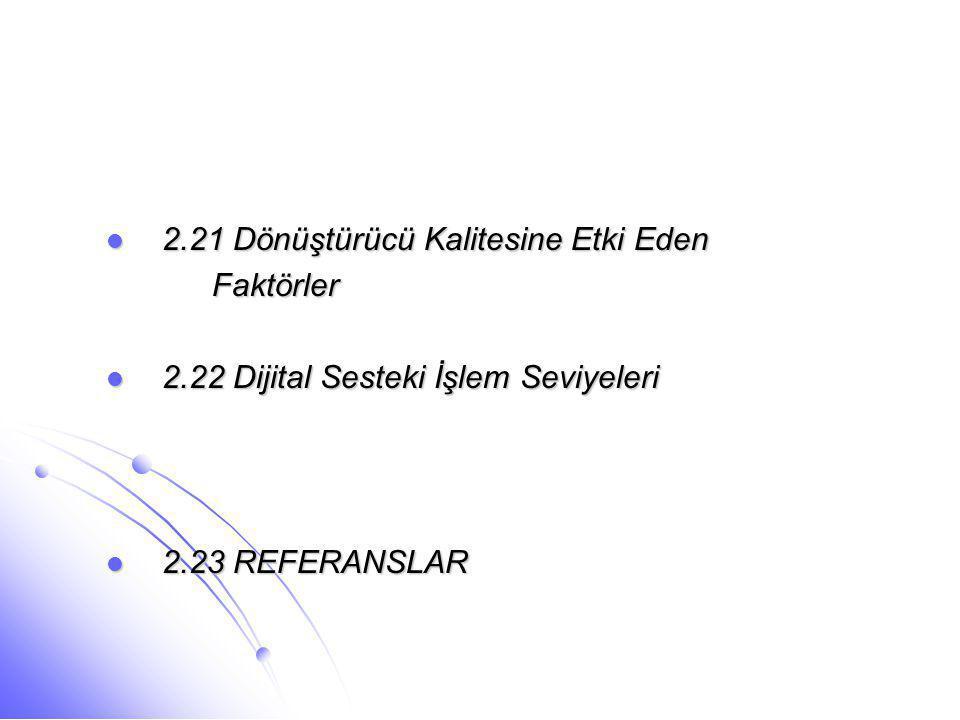 2.21 Dönüştürücü Kalitesine Etki Eden