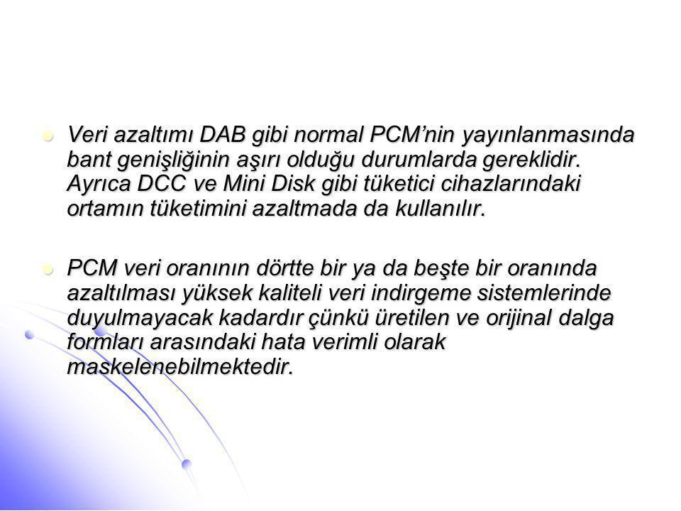 Veri azaltımı DAB gibi normal PCM'nin yayınlanmasında bant genişliğinin aşırı olduğu durumlarda gereklidir. Ayrıca DCC ve Mini Disk gibi tüketici cihazlarındaki ortamın tüketimini azaltmada da kullanılır.