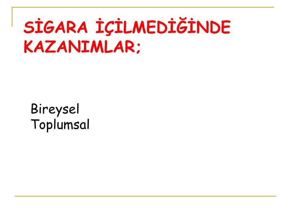SİGARA İÇİLMEDİĞİNDE KAZANIMLAR;