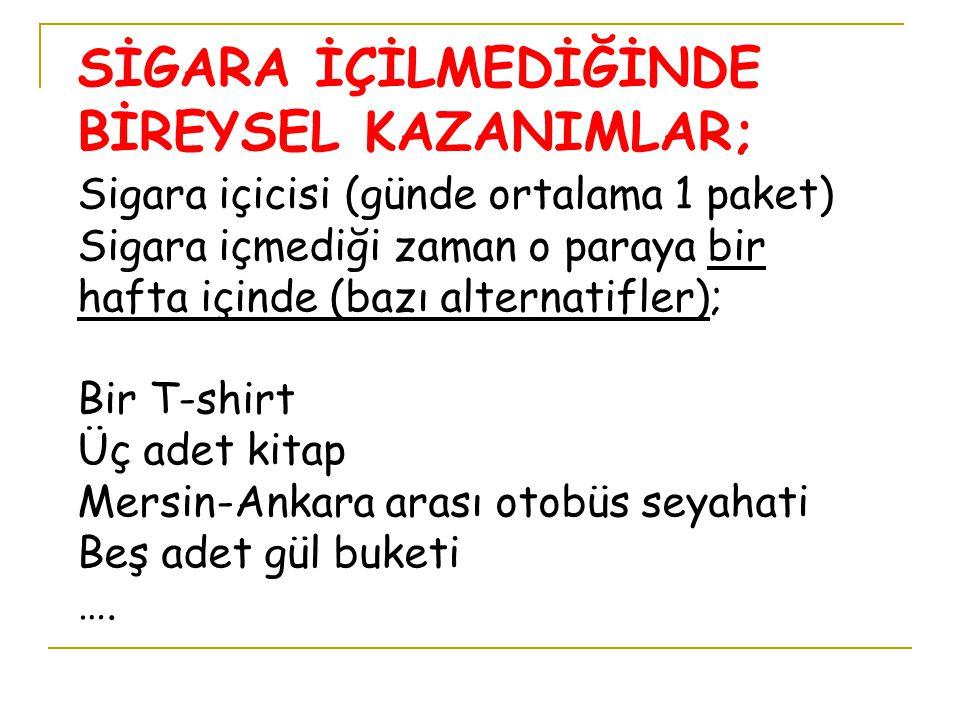 SİGARA İÇİLMEDİĞİNDE BİREYSEL KAZANIMLAR;