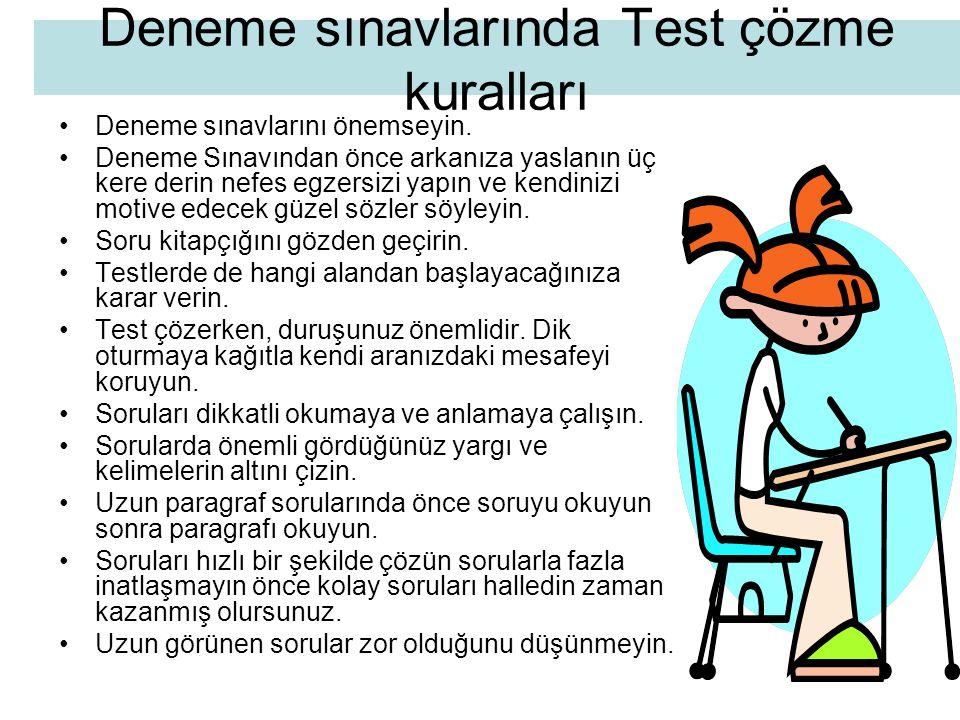 Deneme sınavlarında Test çözme kuralları