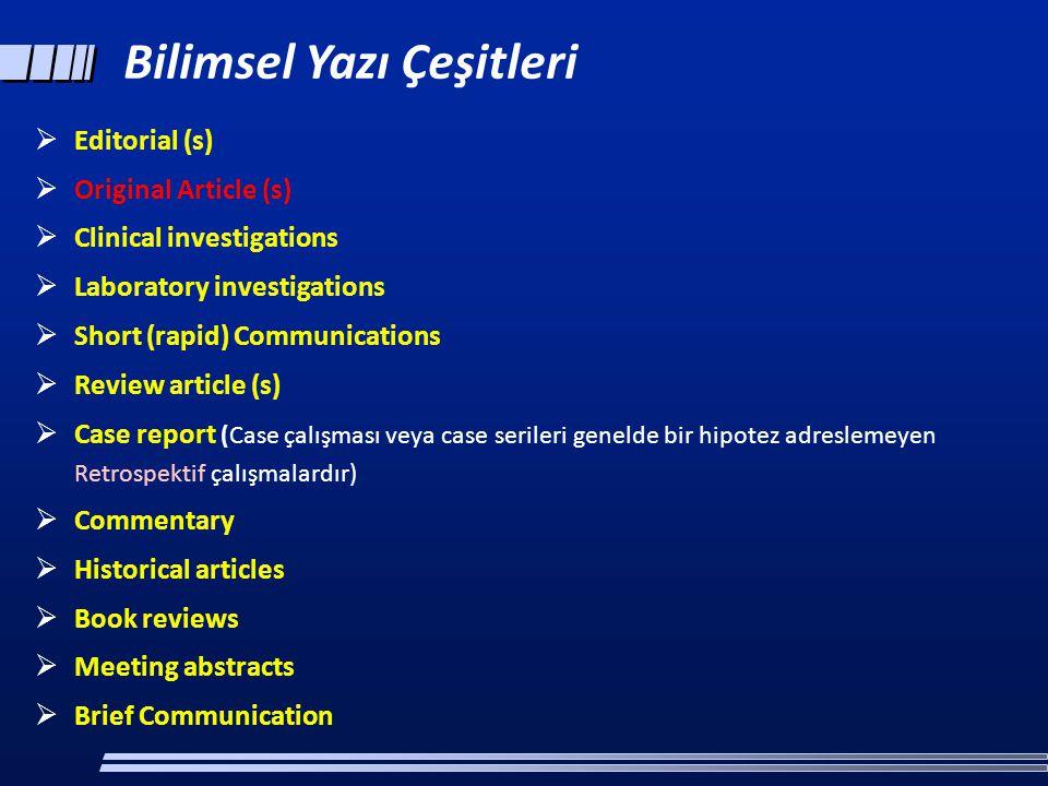 Bilimsel Yazı Çeşitleri