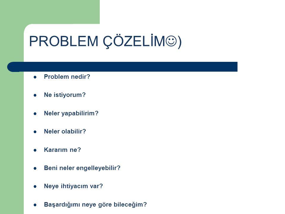 PROBLEM ÇÖZELİM) Problem nedir Ne istiyorum Neler yapabilirim