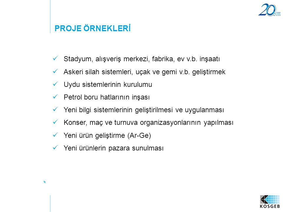 PROJE ÖRNEKLERİ Stadyum, alışveriş merkezi, fabrika, ev v.b. inşaatı