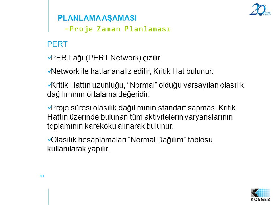 -Proje Zaman Planlaması PERT PERT ağı (PERT Network) çizilir.