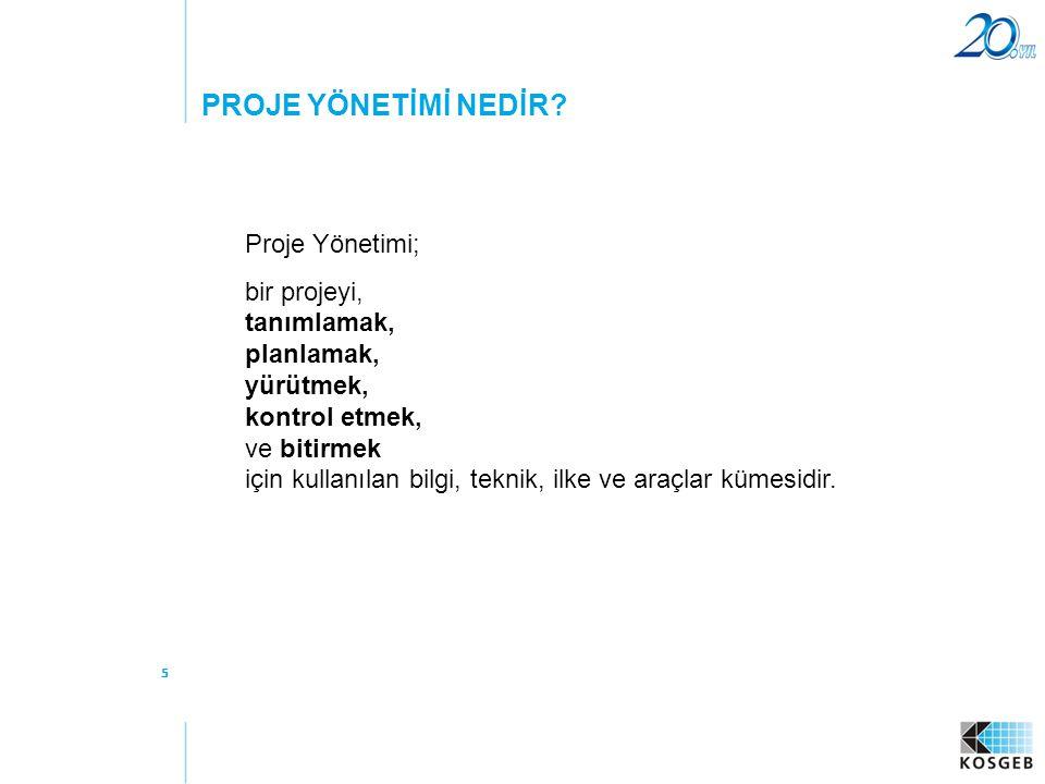 PROJE YÖNETİMİ NEDİR Proje Yönetimi;