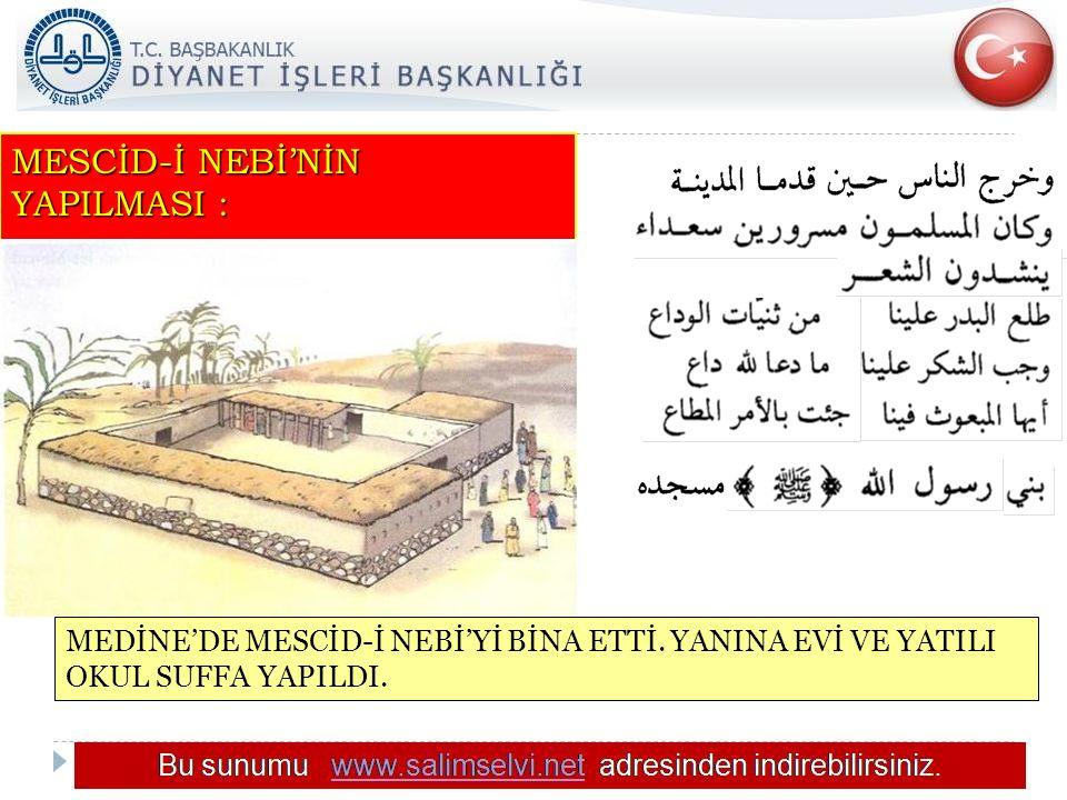 MESCİD-İ NEBİ'NİN YAPILMASI :