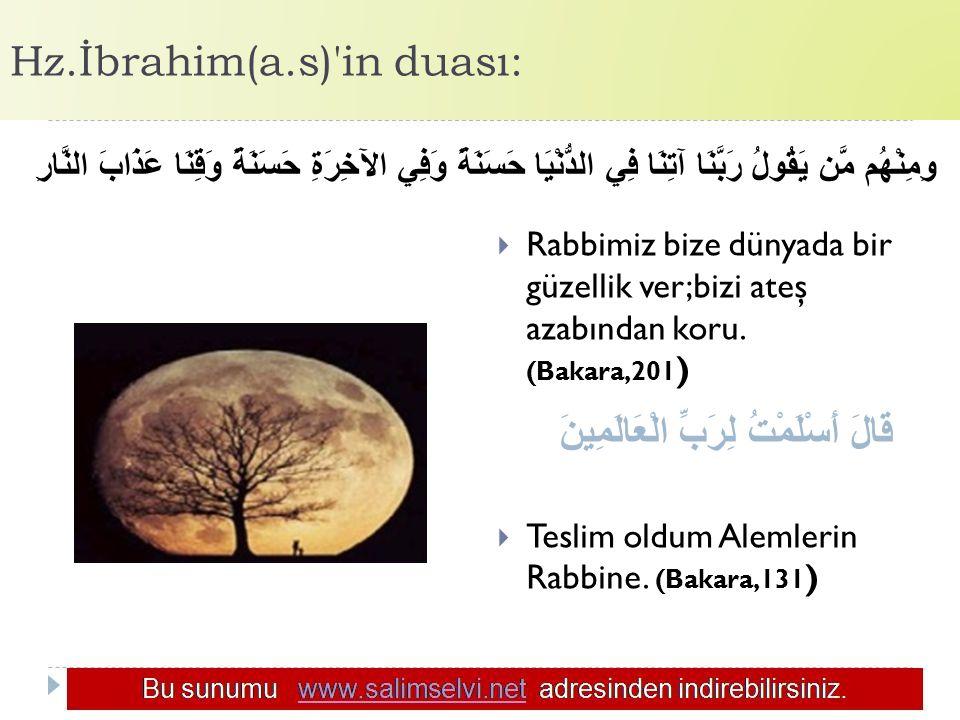 Hz.İbrahim(a.s) in duası: