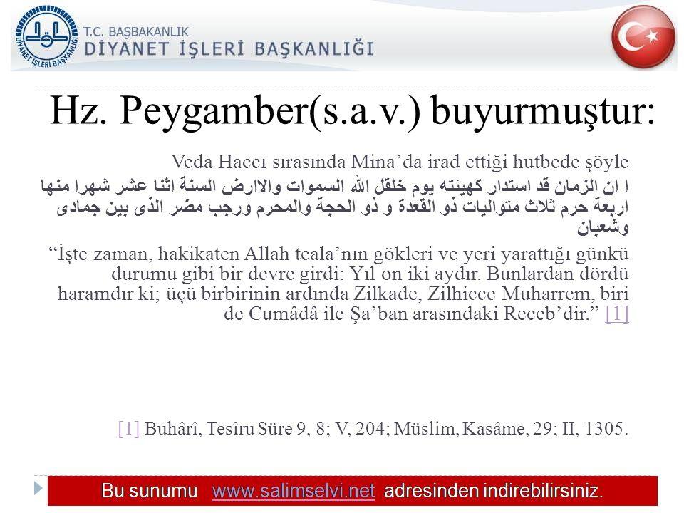 Hz. Peygamber(s.a.v.) buyurmuştur:
