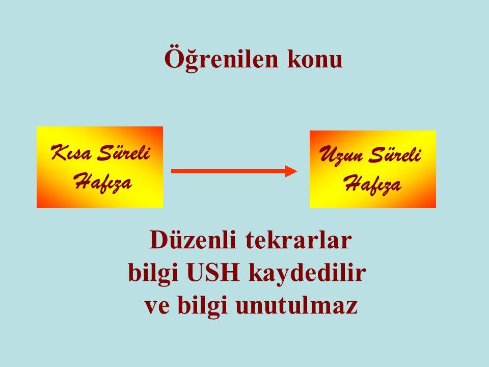 Düzenli tekrarlar bilgi USH kaydedilir ve bilgi unutulmaz