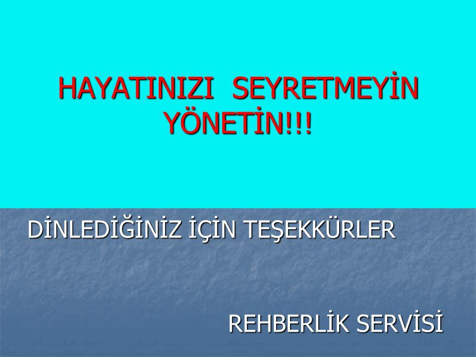 HAYATINIZI SEYRETMEYİN YÖNETİN!!!