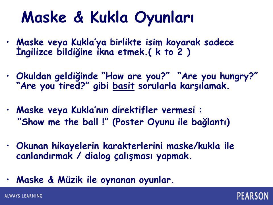 Maske & Kukla Oyunları Maske veya Kukla'ya birlikte isim koyarak sadece İngilizce bildiğine ikna etmek.( k to 2 )