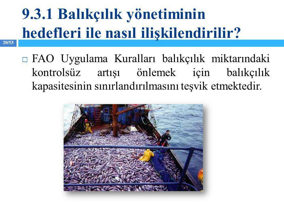 9.3.1 Balıkçılık yönetiminin hedefleri ile nasıl ilişkilendirilir