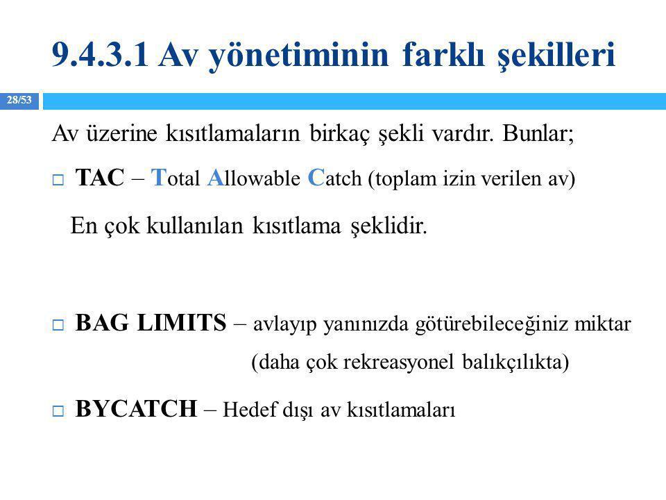 9.4.3.1 Av yönetiminin farklı şekilleri