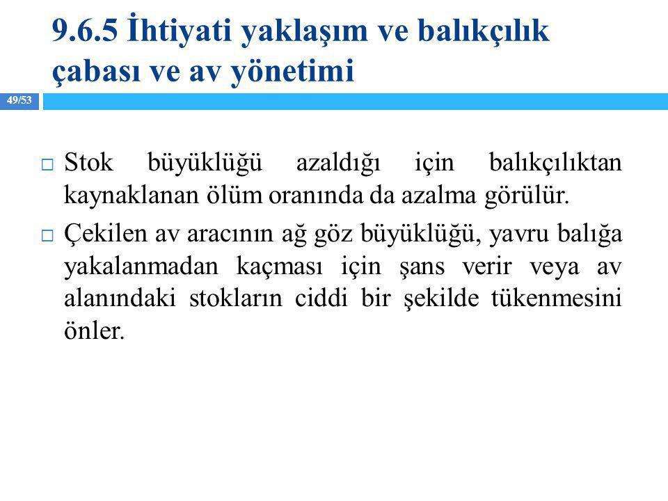 9.6.5 İhtiyati yaklaşım ve balıkçılık çabası ve av yönetimi