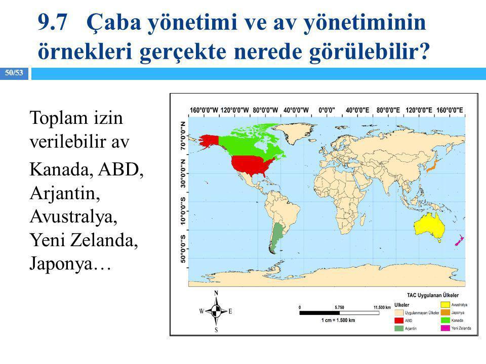 9.7 Çaba yönetimi ve av yönetiminin örnekleri gerçekte nerede görülebilir