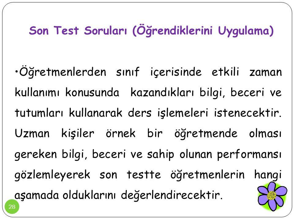 Son Test Soruları (Öğrendiklerini Uygulama)