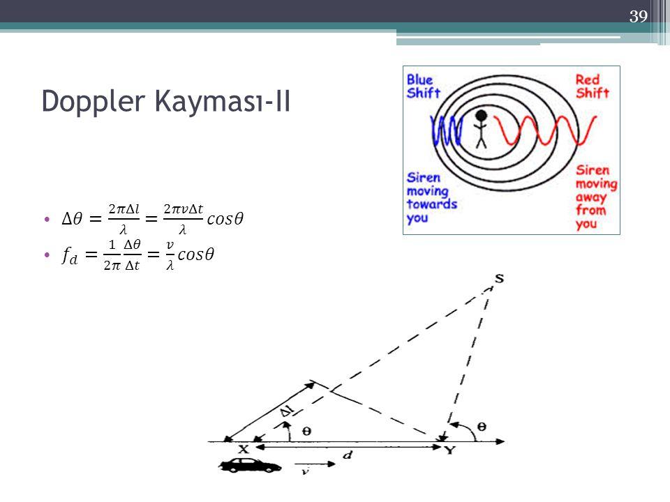 Doppler Kayması-II Δ𝜃= 2𝜋Δ𝑙 𝜆 = 2𝜋𝑣Δ𝑡 𝜆 𝑐𝑜𝑠𝜃