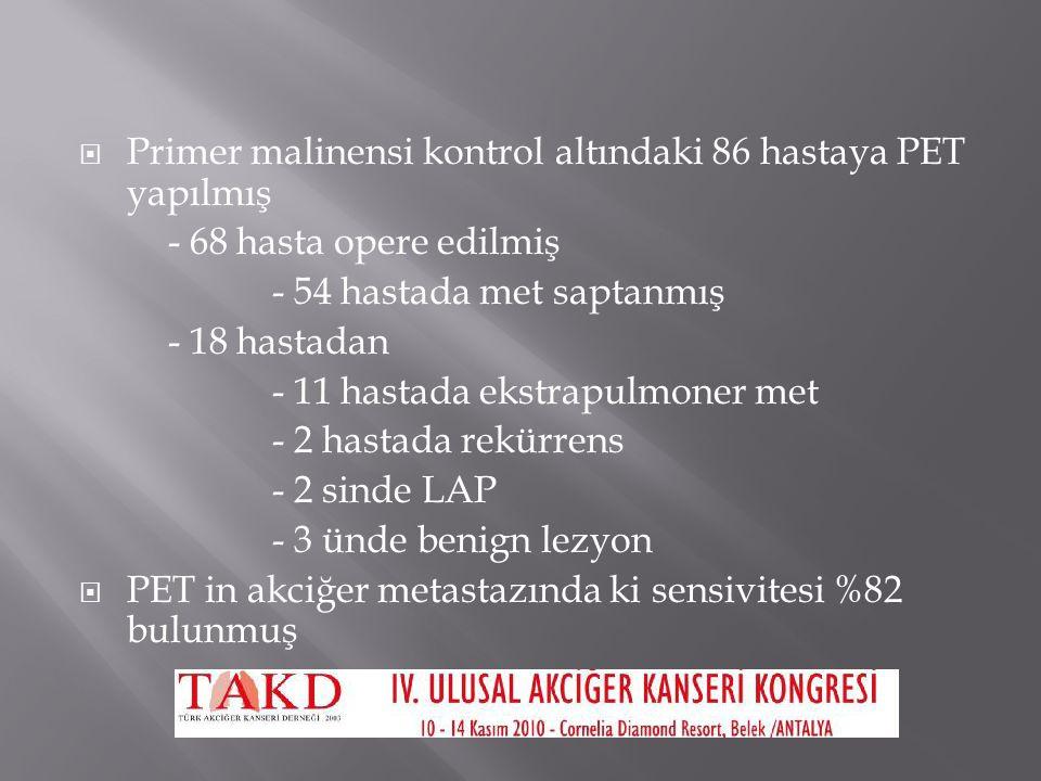 Primer malinensi kontrol altındaki 86 hastaya PET yapılmış