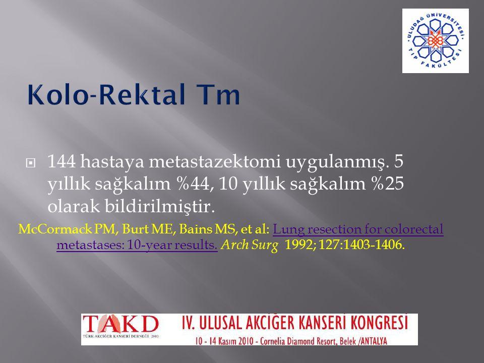 Kolo-Rektal Tm 144 hastaya metastazektomi uygulanmış. 5 yıllık sağkalım %44, 10 yıllık sağkalım %25 olarak bildirilmiştir.