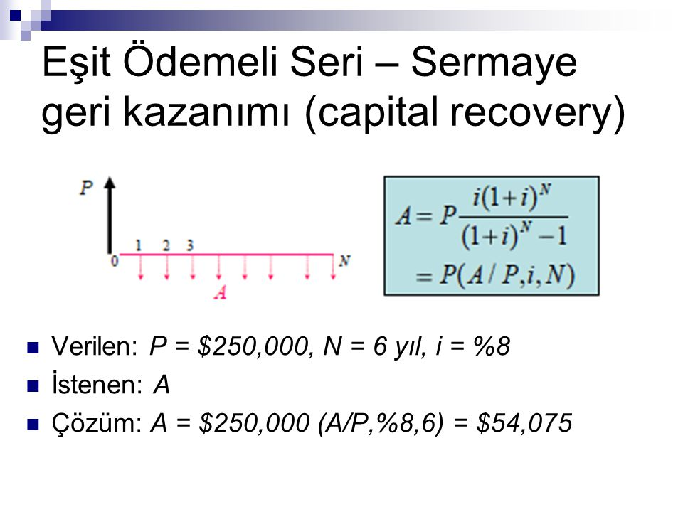 Eşit Ödemeli Seri – Sermaye geri kazanımı (capital recovery)