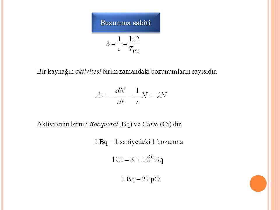 1 Bq = 1 saniyedeki 1 bozunma