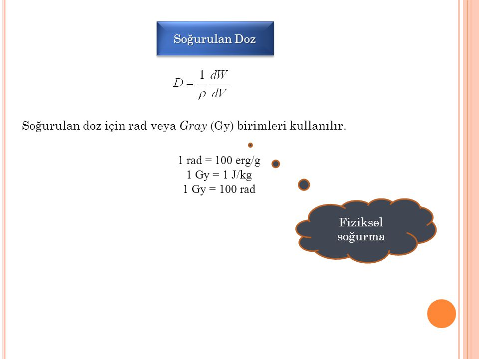 Soğurulan Doz Soğurulan doz için rad veya Gray (Gy) birimleri kullanılır. 1 rad = 100 erg/g. 1 Gy = 1 J/kg.