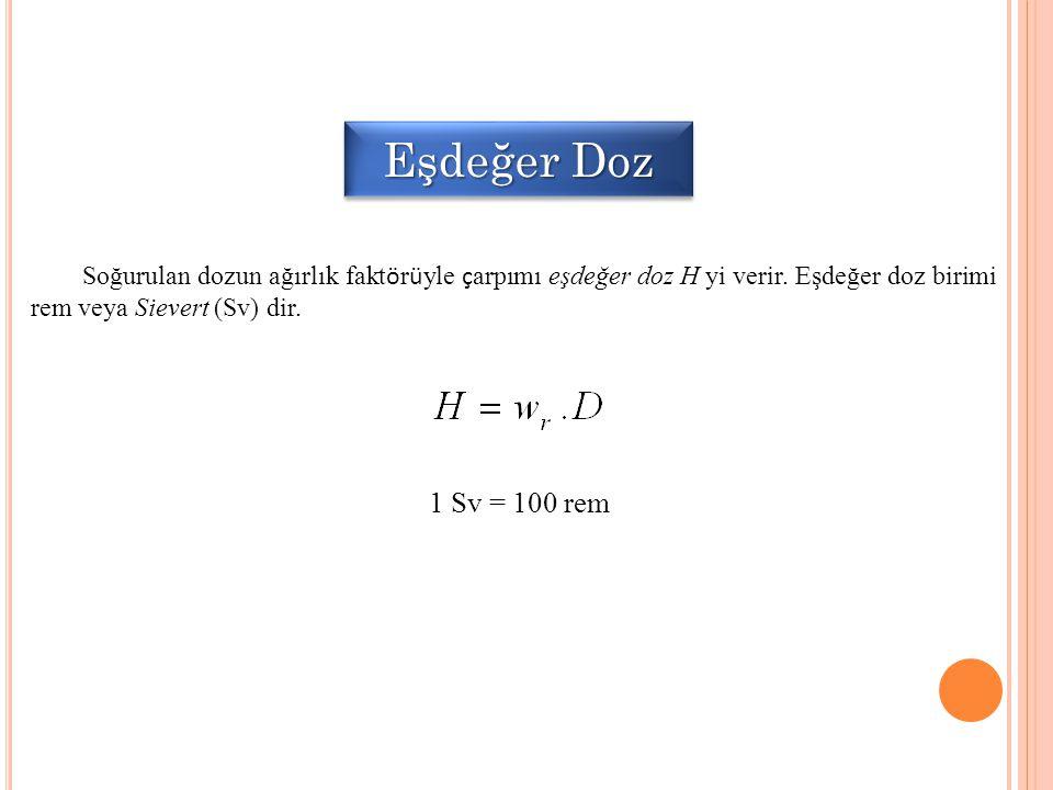 Eşdeğer Doz Soğurulan dozun ağırlık faktörüyle çarpımı eşdeğer doz H yi verir. Eşdeğer doz birimi rem veya Sievert (Sv) dir.