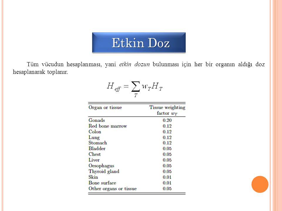 Etkin Doz Tüm vücudun hesaplanması, yani etkin dozun bulunması için her bir organın aldığı doz hesaplanarak toplanır.