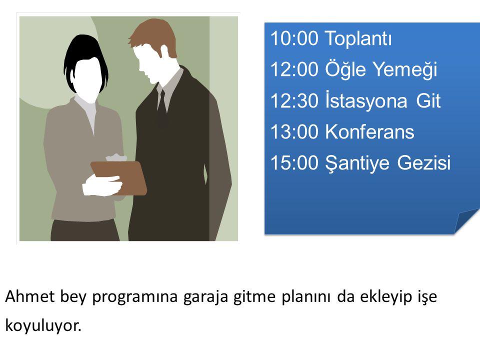 10:00 Toplantı 12:00 Öğle Yemeği 12:30 İstasyona Git 13:00 Konferans