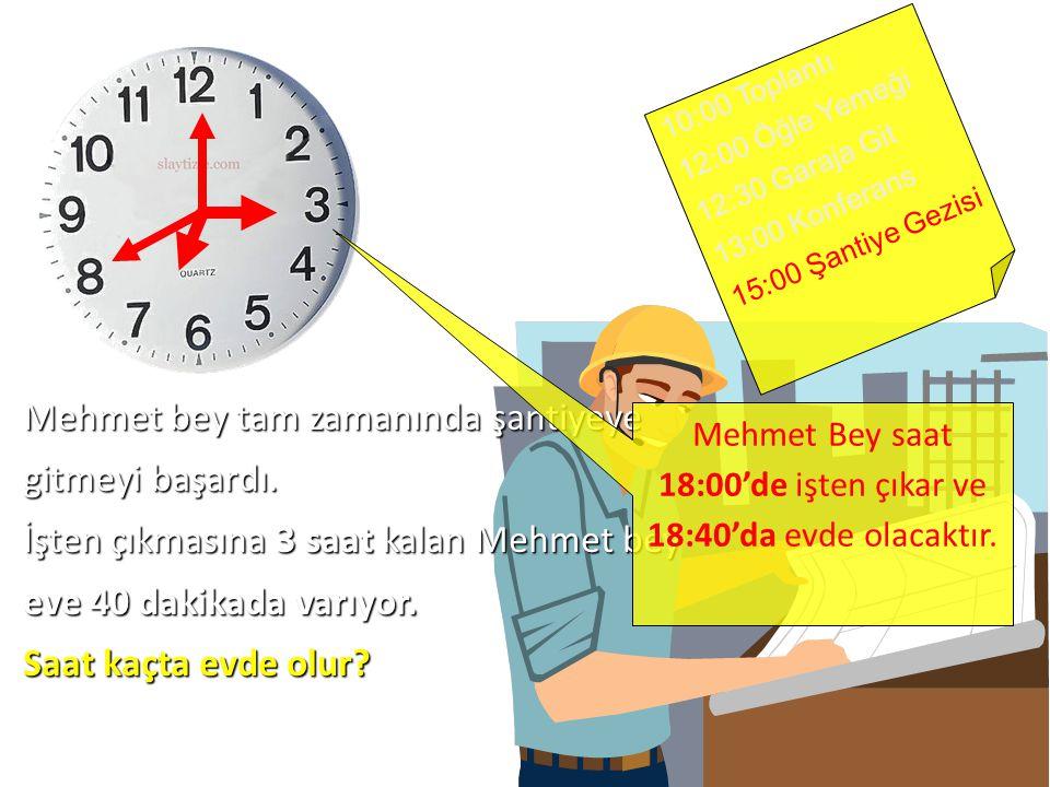 Mehmet Bey saat 18:00'de işten çıkar ve 18:40'da evde olacaktır.