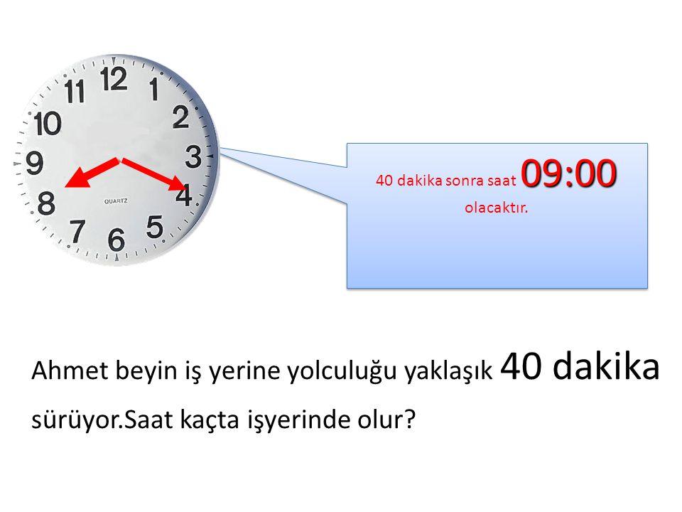 40 dakika sonra saat 09:00 olacaktır.