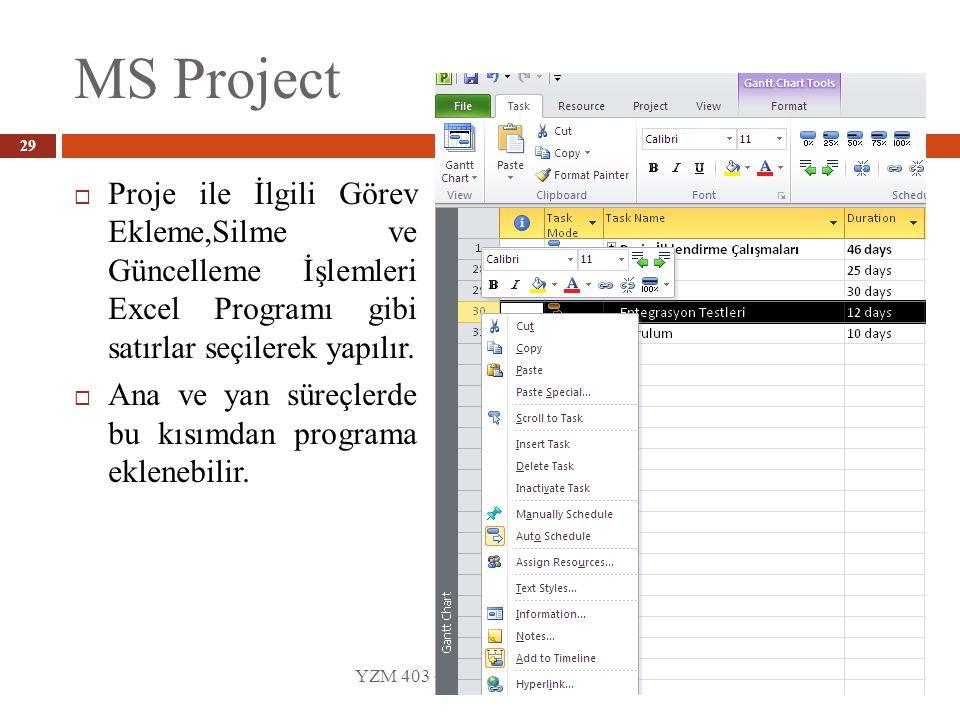 MS Project Proje ile İlgili Görev Ekleme,Silme ve Güncelleme İşlemleri Excel Programı gibi satırlar seçilerek yapılır.