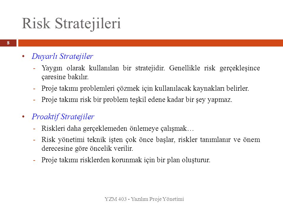 Risk Stratejileri Duyarlı Stratejiler Proaktif Stratejiler
