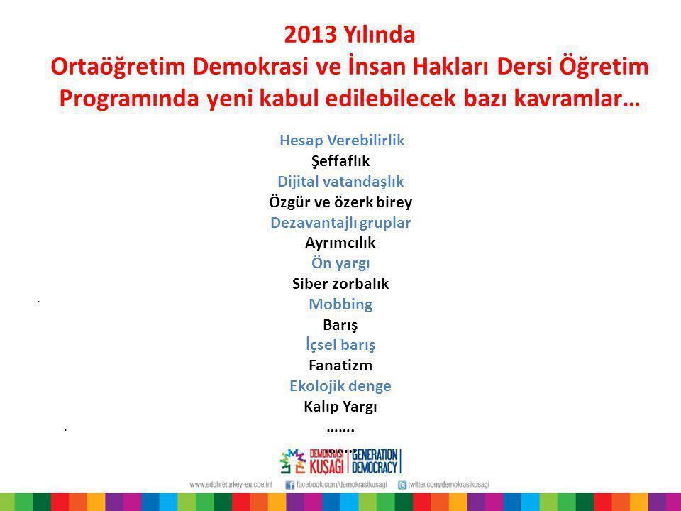 2013 Yılında Ortaöğretim Demokrasi ve İnsan Hakları Dersi Öğretim Programında yeni kabul edilebilecek bazı kavramlar…