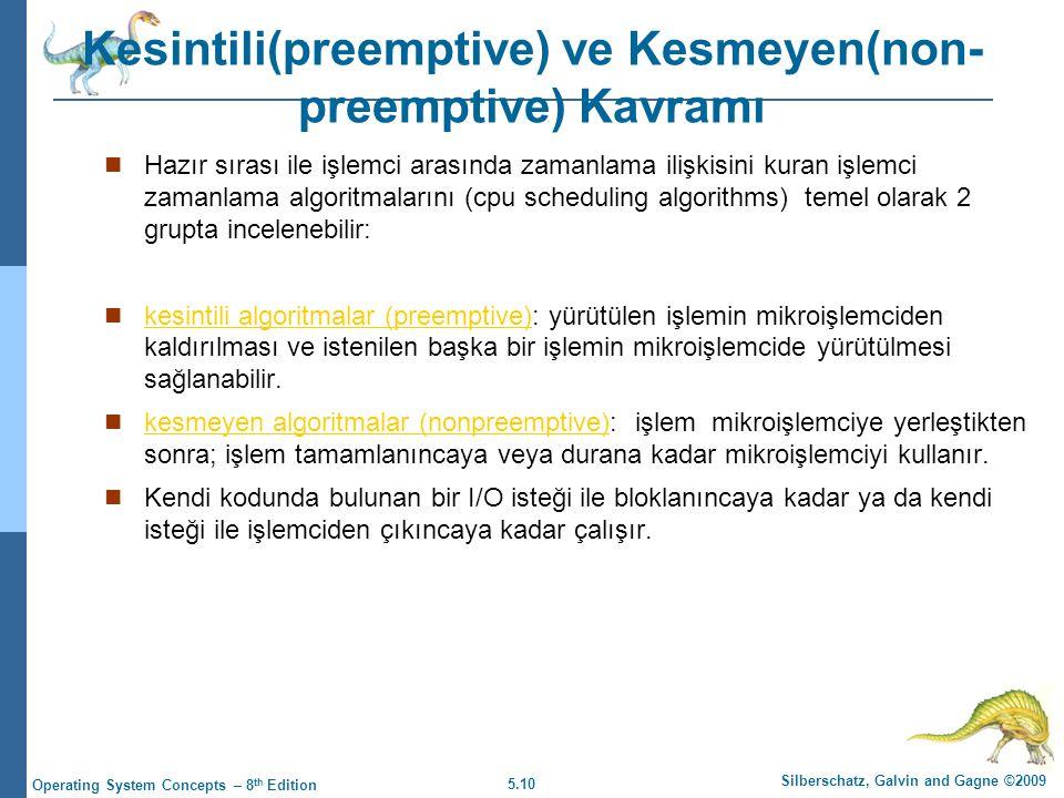 Kesintili(preemptive) ve Kesmeyen(non-preemptive) Kavramı