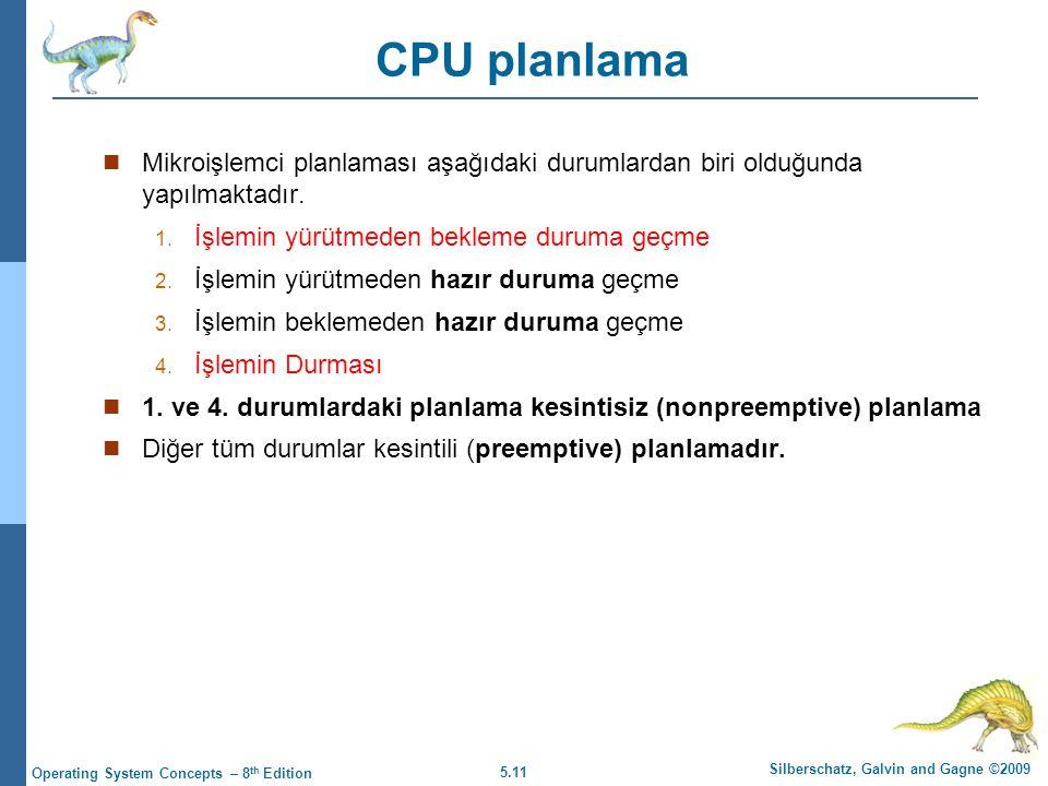 CPU planlama Mikroişlemci planlaması aşağıdaki durumlardan biri olduğunda yapılmaktadır. İşlemin yürütmeden bekleme duruma geçme.