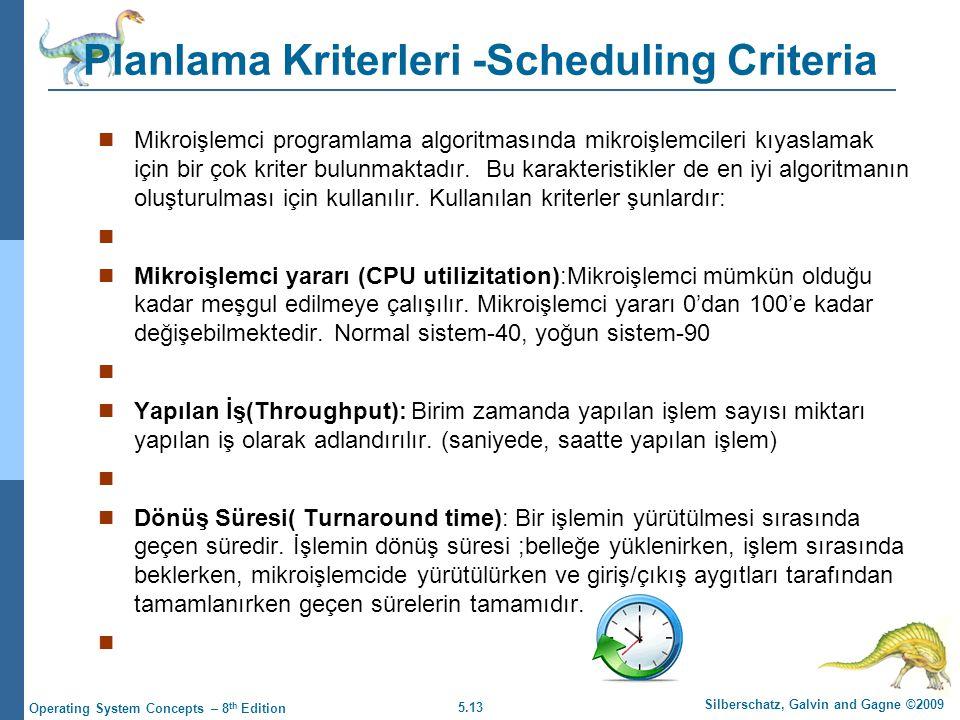 Planlama Kriterleri -Scheduling Criteria