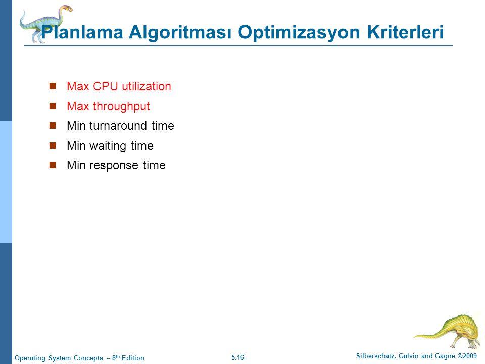 Planlama Algoritması Optimizasyon Kriterleri