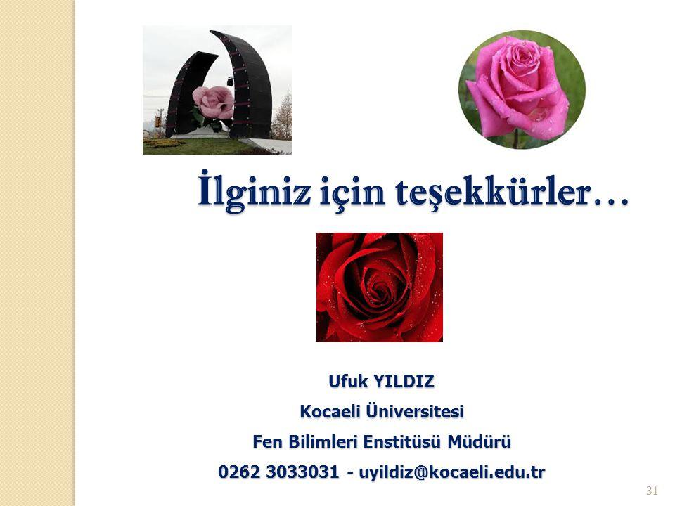 Fen Bilimleri Enstitüsü Müdürü 0262 3033031 - uyildiz@kocaeli.edu.tr