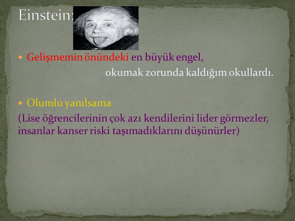 Einstein: Gelişmemin önündeki en büyük engel,
