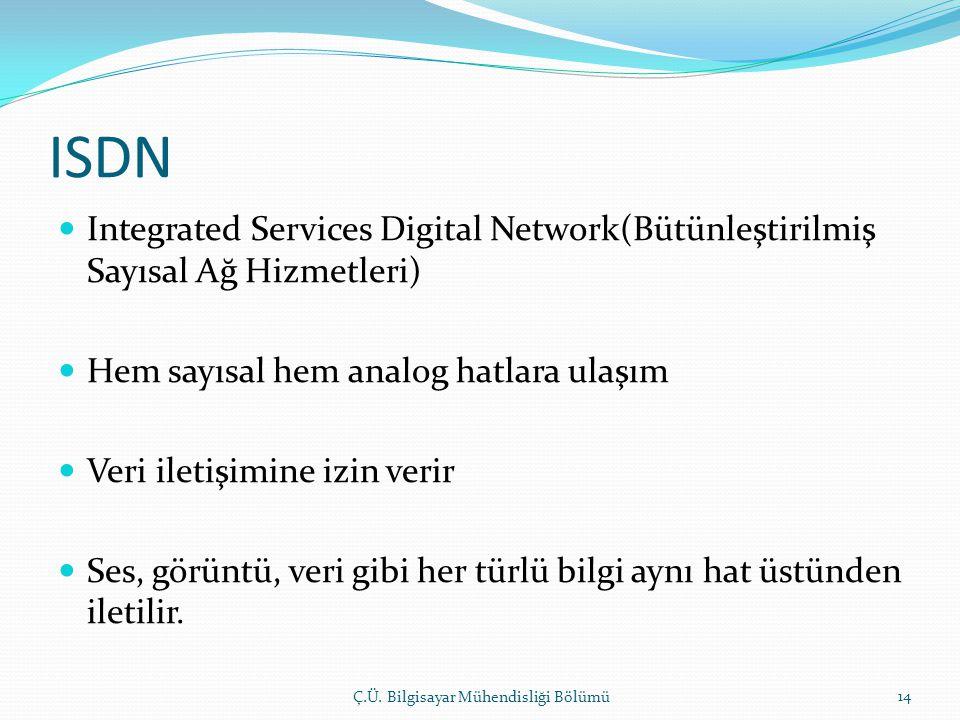 ISDN Integrated Services Digital Network(Bütünleştirilmiş Sayısal Ağ Hizmetleri) Hem sayısal hem analog hatlara ulaşım.