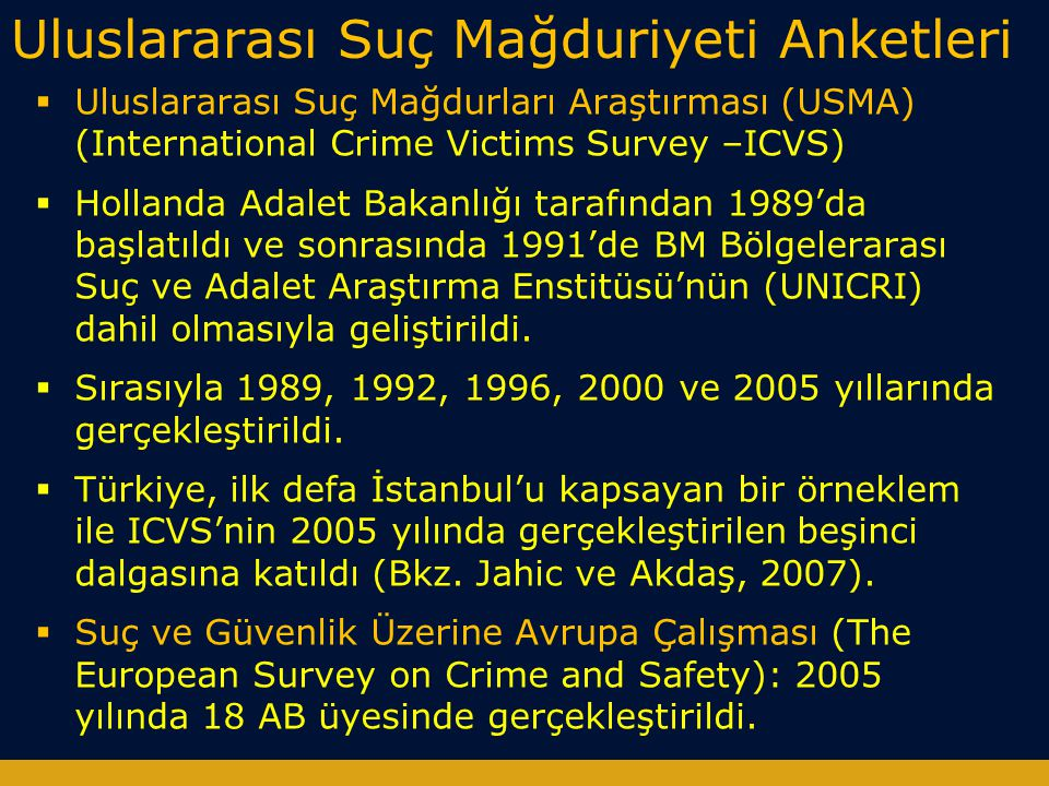 Uluslararası Suç Mağduriyeti Anketleri