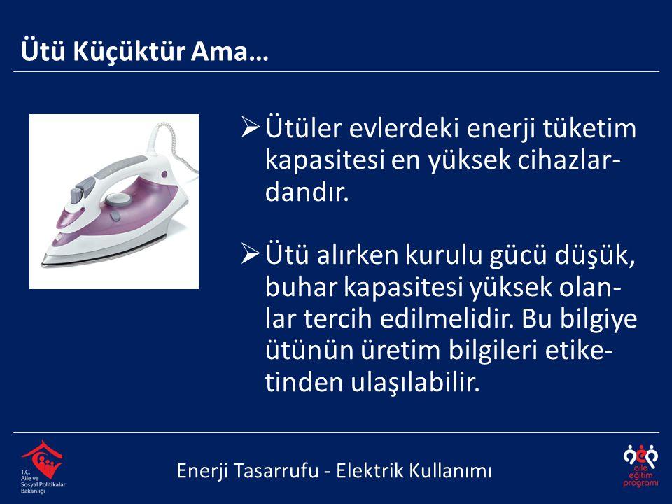 Ütüler evlerdeki enerji tüketim kapasitesi en yüksek cihazlar-dandır.