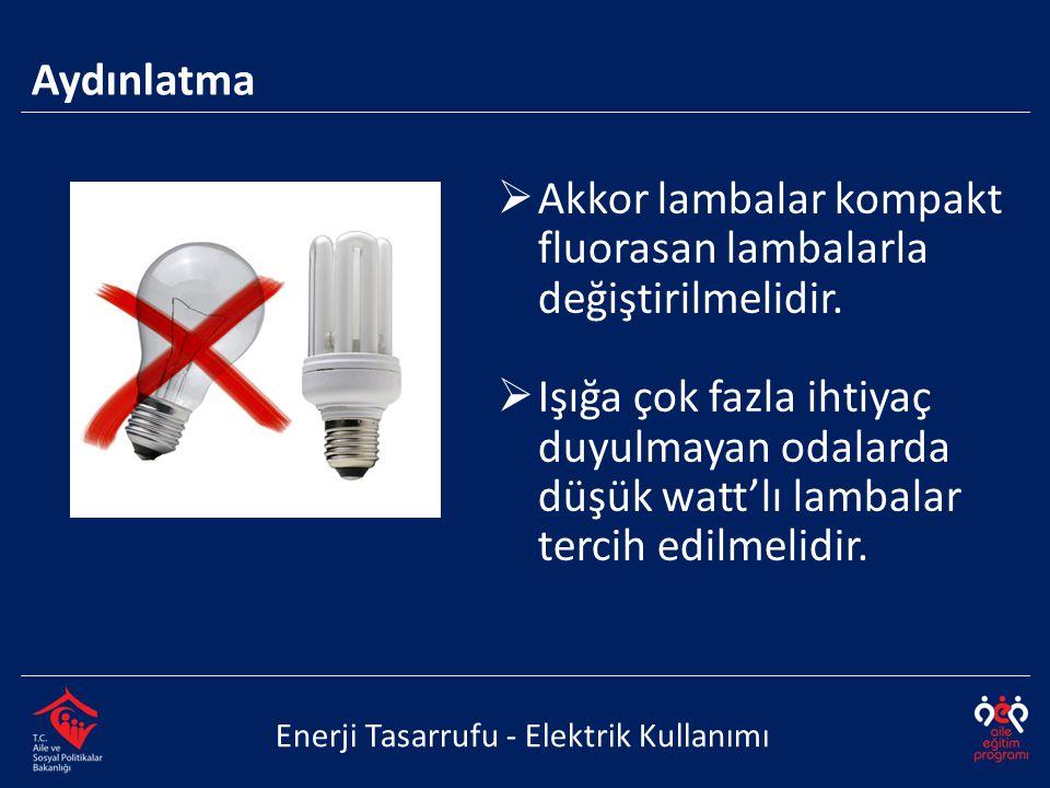 Akkor lambalar kompakt fluorasan lambalarla değiştirilmelidir.