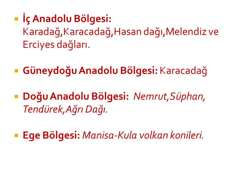İç Anadolu Bölgesi: Karadağ,Karacadağ,Hasan dağı,Melendiz ve Erciyes dağları.