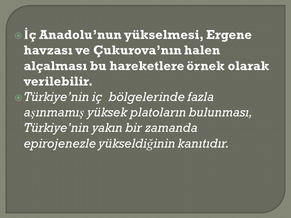 İç Anadolu'nun yükselmesi, Ergene havzası ve Çukurova'nın halen alçalması bu hareketlere örnek olarak verilebilir.
